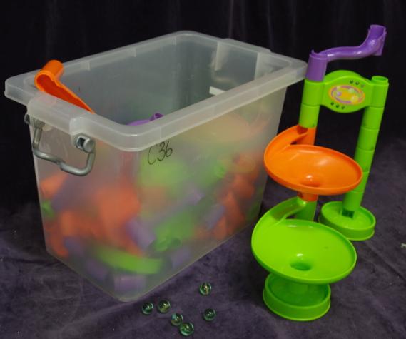 C36: Orange, purple & Green Marble Run (Fluoro Set)
