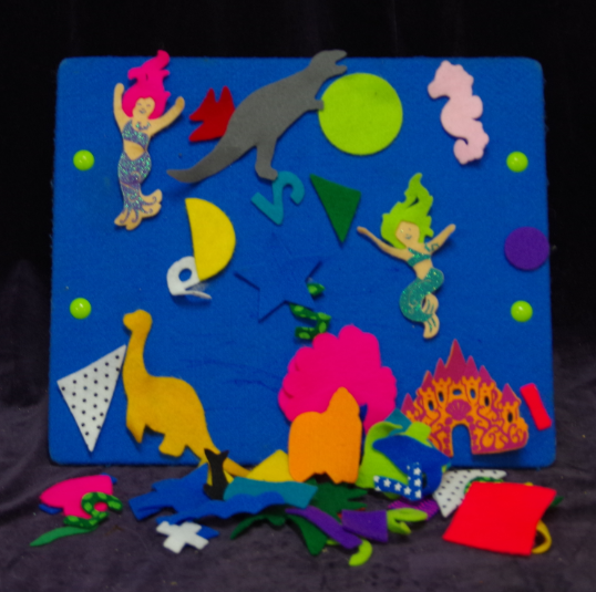 E10: Felt Pieces & Easel Board - shapes, under the sea, dinosaurs, numbers
